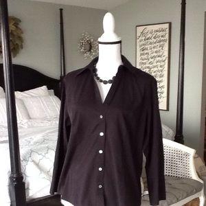 Talbots classic button front cotton shirt size 14W
